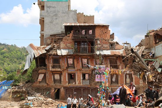 Buildings destroyed in the 2015 Nepal earthquake