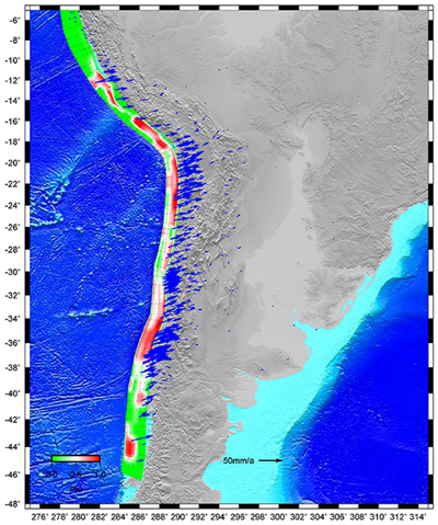 Locking distribution along the Nazca-Andean trench