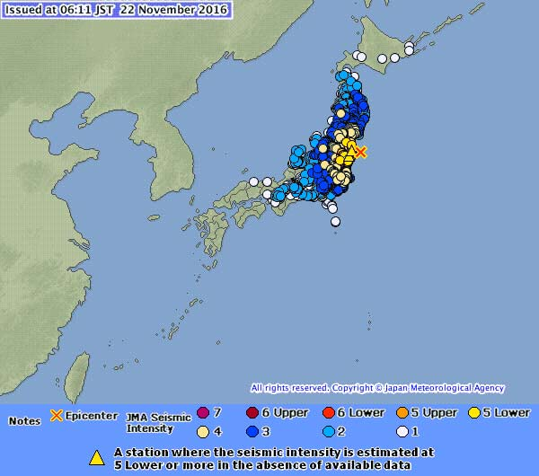 November 22 earthquake off Fukushima