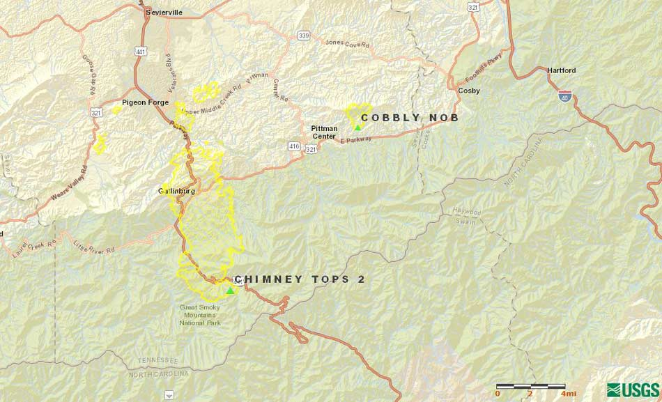 The perimeter of the Chimney Tops 2 wildfire