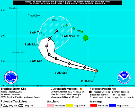 Cone of uncertainty for Tropical Storm Kilo for August 21, 2015