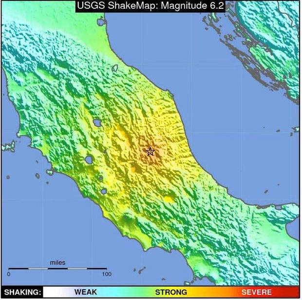 ShakeMap for the earthquake in central Italy