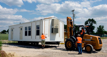 A manufactured home in transit