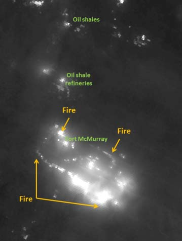 Nighttime infrared view of the Fort McMurray fire