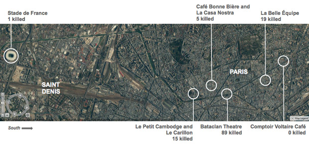 The locations of the six attacks across Paris