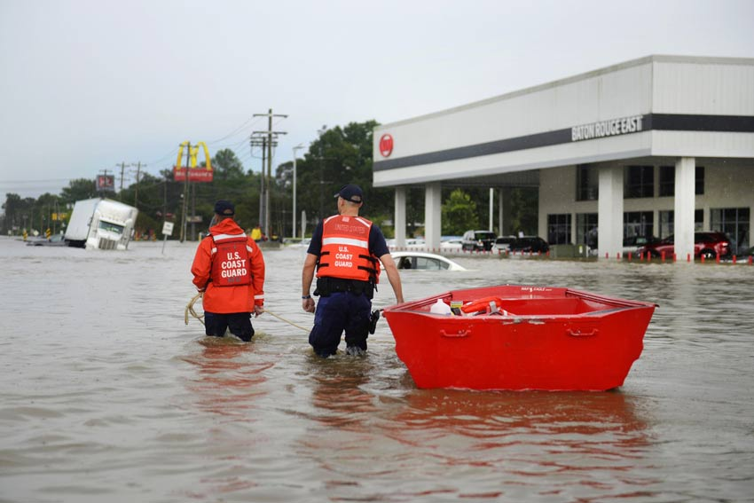 U.S. Coast Guard assisting residents in Baton Rouge on August 14, 2016. (Source: U.S. Coast Guard)