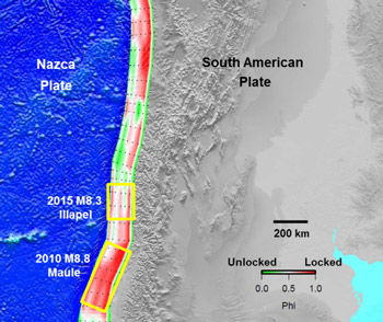 locking pattern along the Nazca subduction interface