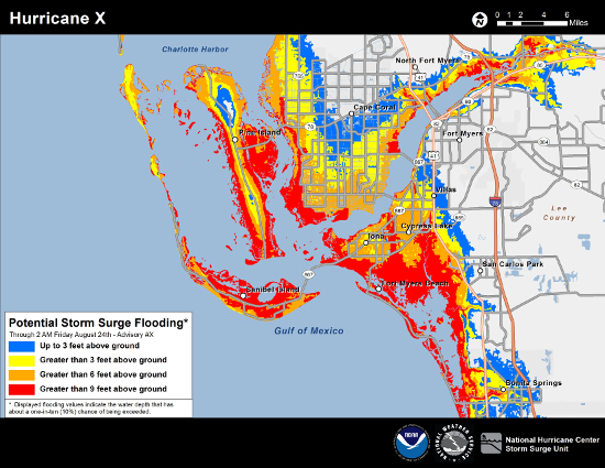 Example of NHC Potential Storm Surge Flooding for a hypothetical hurricane in the Fort Myers, Florida region