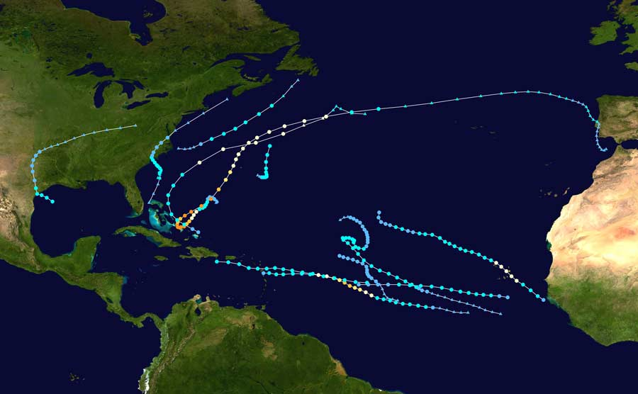 Tracks of the 2015 Atlantic hurricane season