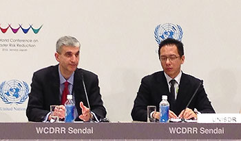 AIR's Dr. Milan Simic and Jerry Velasquez, UNISDR Chief of Section, Advocacy and Outreach, present preliminary findings of AIR's study at the WCDRR in Sendai, Japan